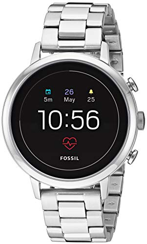 Fossil Women's Gen 4 Venture HR Heart Rate Stainless Steel Touchscreen Smartwatch, Color: Silver (Model: FTW6017)