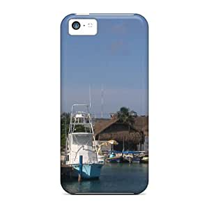 Ultra Slim Fit Hard Pando Case Case Cover Specially Made For Iphone 5c- Isla Mujeres Docked Boats