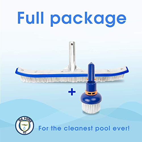 - QA Home97 Premium Swimming Pool Brush 18''| Mixed Stainless Steel & Nylon Wire Bristle| Bonus Flexible Floor Wall Corner Cleaning Vacuum Brush for Quickly Cleaning Steps, Stairs & Spa Jets.