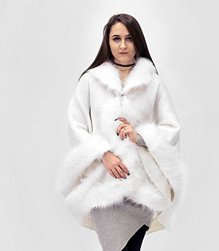 Elegant snow white half-woolen cloak with high quality faux fur for wedding by ScarecrowStudio