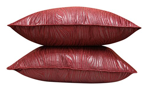 Welhome Snapshot 2 Piece Polyester Cushion Cover Set – 16″x16, Rusty Maroon