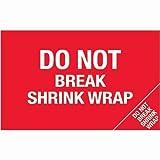 Tape Logic DL1392 Flame Labels, ''Do Not Break Shrink Wrap'' (Bill of Lading), 5'' x 8'', Red/White, 500 Per Roll