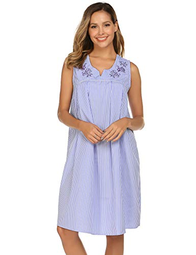 Ekouaer Sleepwear Women's Striped Nightgown Duster Sleeveless House Dress V Neck Housecoat ()