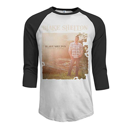 JeremiahR Blake Shelton Texoma Shore Men's 3/4 Sleeve Raglan Baseball Tshirts Black L -