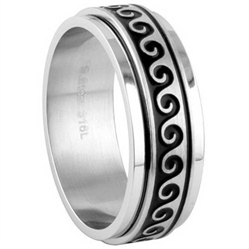 Wave Spinner - JewelryVolt Stainless Steel Ring Waves Casted Greek Accents Polished & Brushed Spinner (Spinner A 8)