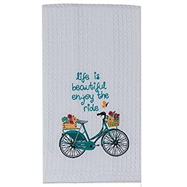 Kay Dee Designs Enjoy The Ride Embroidered Bicycle Waffle Towel Blue