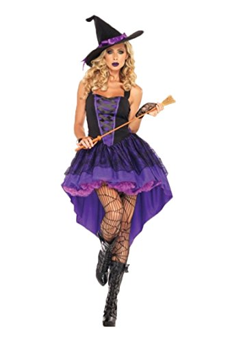 Size 28 Witch Costume (Witch Dress with Hat for Halloween Christmas Adult Costume Purple)