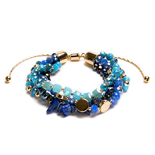 - Bivei Bohemian Versatile Multi-Layer Bead Statement Bracelet - Stretch Strand Stackable Cuff Bangle Set Faceted Acrylic Druzy Sparkly Crystal(Adjustable Blue)