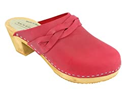 Lotta From Stockholm Swedish Clogs : Moheda Maria High Heel Clog in Red Nubuck Leather