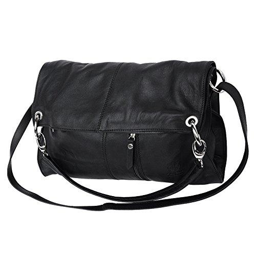 c77dd2405ba540 ... Umhängetasche Hobo Bag 2in1 Damen Handtasche Leder schwarz Crossover  Schultertasche OTF102S ...