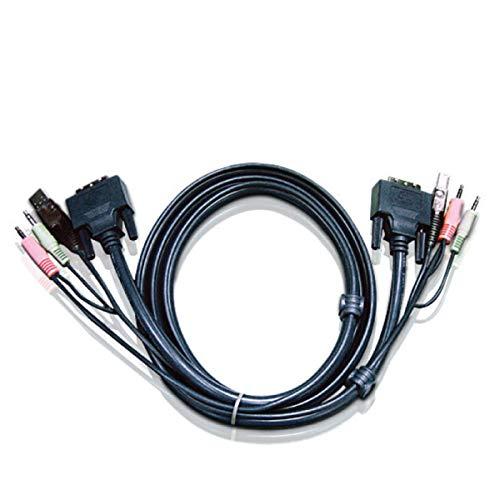 (ATEN 2L-7D03U - Video / USB / audio cable - 4 pin USB Type A, mini-phone stereo 3.5 mm , DVI-I (M) - mini-phone stereo 3.5 mm , 4 pin USB Type B, DVI-I (M) - 10 ft)