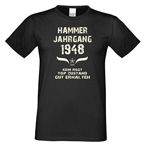Geburtstags-Geschenk T-Shirt Herren Übergrößen Hammer Jahrgang 1948 Präsent zum 69. Geburtstag Freizeitlook Männer Farbe: schwarz Gr: 3XL