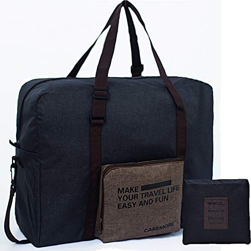 For Spirit Airline Personal Carry-on Bag Unisex's Lightweight Fodable Waterproof Duffel Travel Luggage Bag for Men Women 18 X 14 X 8 inches(Brown with Shoulder Strap)