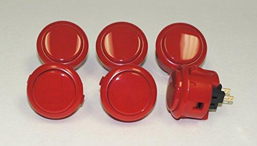 Sanwa 6 pcs OBSF-30 RED (Bright Red) OEM Arcade Push Button (Mad Catz SF4 Tournament Joystick ()