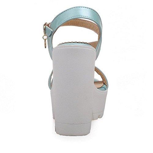 Allhqfashion Women's Solid PU High Heels Open Toe Buckle Sandals Blue rqU6VhD