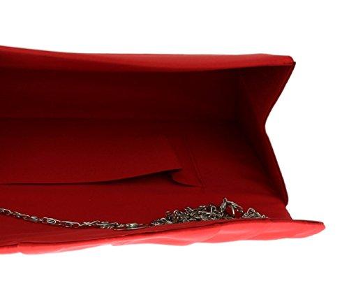 Satin Plissé Mariage Girly Bandoulière Pochette Soirée Belle De Vintage Soirée Sac HandBags Rouge Élégant EqZtSF