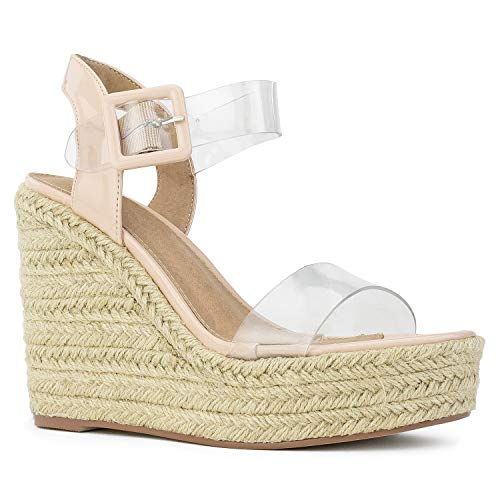 RF ROOM OF FASHION Open Toe Clear PVC Espadrille Platform Wedge Sandals Nude Size.10