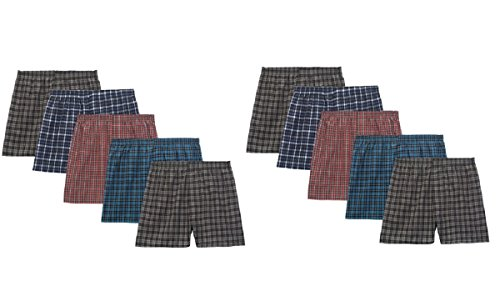 Fruit Of The Loom Boys' Woven Boxer, Exposed and Covered Waistband (Pack Of 5) (Assorted - 10 Pack, X-Large)