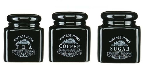 Black Tea Coffee Sugar Storage Jar Canister Set