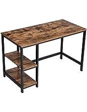 VASAGLE LWD47X Bureau, computertafel in industrieel design, voor bureau, met 2 planken aan de rechter- of linkerzijde, werktafel voor op kantoor, woonkamer, eenvoudig gemonteerd, vintage