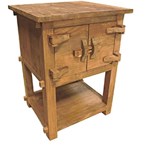 NES Furniture Fine Handcrafted Solid Teak Wood Toewa Side Table Nightstand 28 Natural