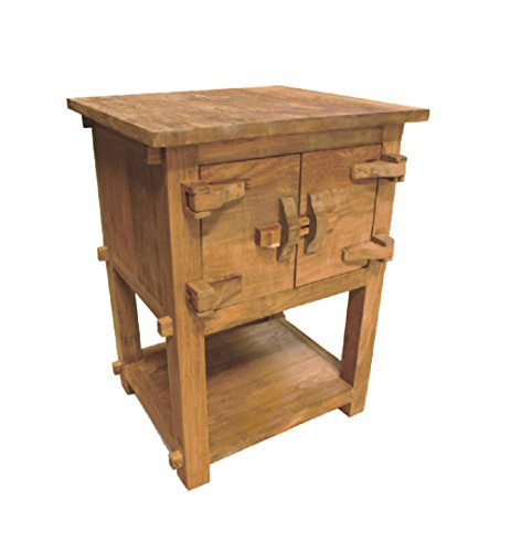 - NES Furniture Fine Handcrafted Solid Teak Wood Toewa Side Table/Nightstand, 28