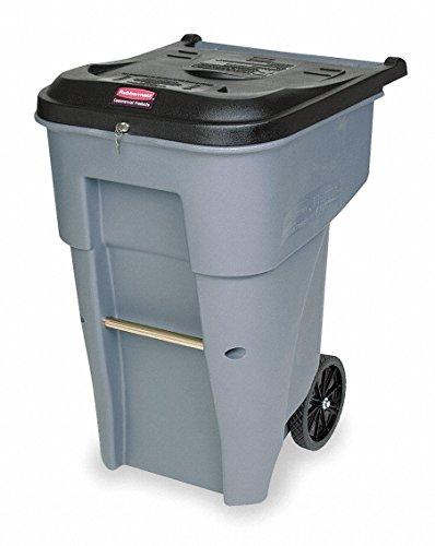 95 gal. Rectangular Gray Trash Can w/ Wheels by Rubbermaid