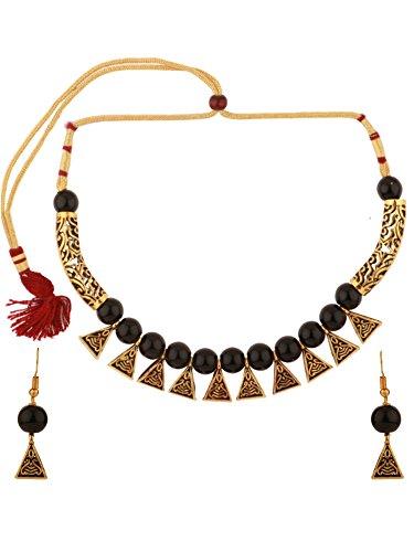 Efulgenz Boho Traditional Indian Oxidized Crystal Black Pearl Beaded Vintage Tribal Statement Choker Necklace Earring Jewelry - Choker Beaded Vintage