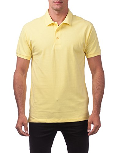 - Pro Club Men's Pique Polo Cotton Short Sleeve Shirt, Yellow, Large