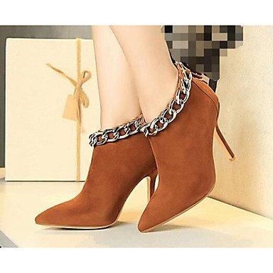 Botas de mujeres PU Confort Casual Primavera Almendra plana de color rojo marrón Brown
