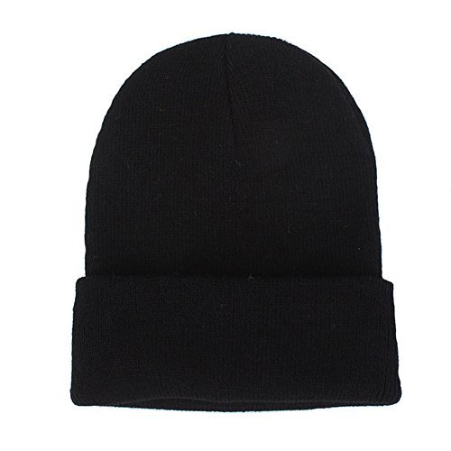 (CANCA Unisex Cuff Warm Winter Hat Knit Plain Skull Beanie Toboggan Knit Hat/Cap (Black))