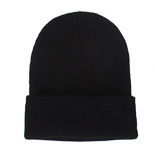 Orange Skull Cap (CANCA Unisex Cuff Warm Winter Hat Knit Plain Skull Beanie Toboggan Knit Hat/Cap (Black))