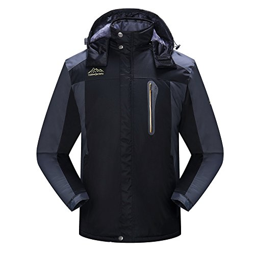 Spmor Men's Waterproof Ski Jacket Windproof Mountain Rain Jacket Hooded Coat