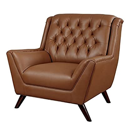 Furniture Of America Mayfield Tufted Leather Accent Chair In Brown