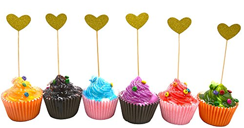 Cupcakes Home Of Taste Halloween (24PCS Best Heart Cupcake Toppers, Gold Glitter Heart Large Cupcake Toppers Golden Wedding,Weddings, Bridal or Baby)