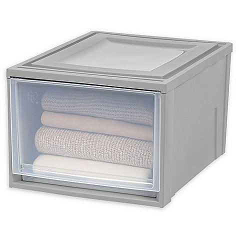 IRIS. Shallow Box Large Chest Drawer in Grey/Clear by IRIS.