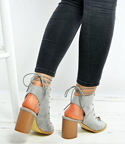 Cucu tacón gris Fashion mujer con Zapatos rwxFTrOY