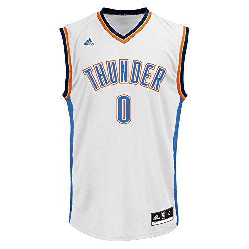 NBA Oklahoma City Thunder Russell Westbrook #0 Men's Home Replica Jersey, XX-Large, White Thunder Jersey