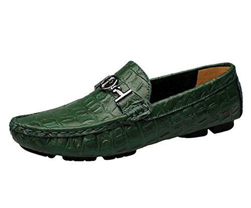 Ommda Herren Mokassins Slipper Loafer Driving Lederschuhe Grün
