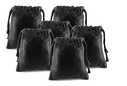 Pack of 6 Chalk Factory Lambskin Leather Drawstrings Pouch: Black, 7cm X 9cm