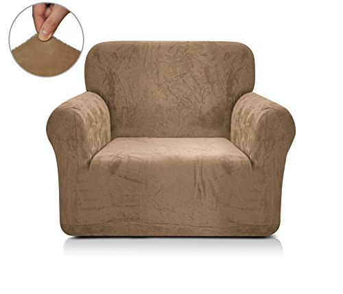 Chunyi 1-Piece Soft and Stretchy Polyester Spandex Fabric Sofa Slipcover (Chair, Coffee) - 1 Piece Recliner Slipcover