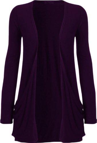 Nouveaux Femmes Grande Taille manches longues de base ordinaire Cardigan Top 36-54 purple