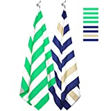 Microfiber Towel - Beach & Travel (2 Pack - Khaki&Navy/Green - Extra Large 67x35) - Beach Blanket, Lounge Chair Beach Towel Cover, Picnic Mat with Mesh Carry Bag