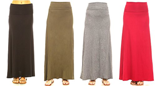 Isaac Liev Womens 4-Pack Trendy Rayon Span Fold Over Maxi Skirt