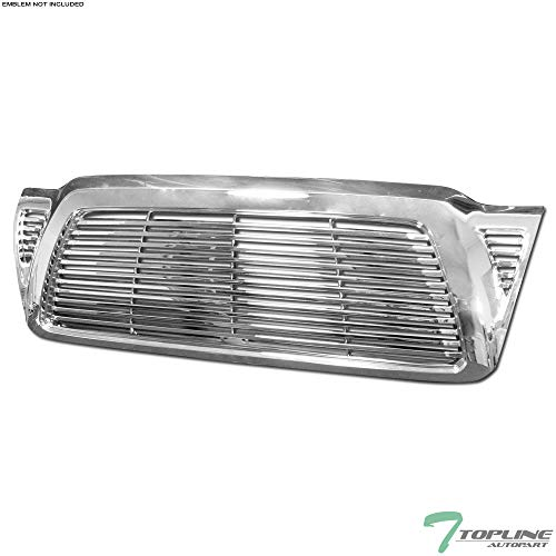 Topline Autopart Chrome Horizontal Billet Style Front Hood Bumper Grill Grille Cover 05-11 Toyota Tacoma ()