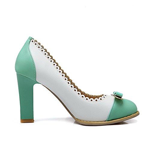 Amoonyfashion Kvinna Kick-häl Mjuk Materialutdrag På V Sluten Tå Pumpar-shoes Grön