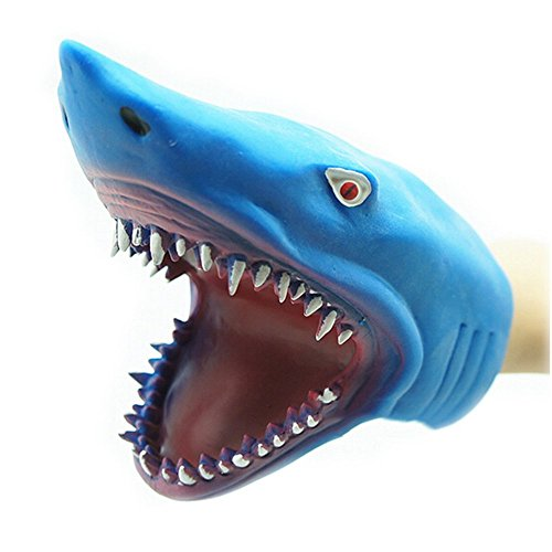 (ZHENDUO Shark Hand Puppet Awesome Realistic Jaws Rubber Glove Puppet Stuff for Children's Story Time Cake Topper DIY Decoration Tub Cos Play Prop Toys and)