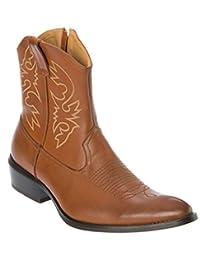 Alfa Mens Western-Boots Slip On Side Zipper Point Toe Cowboy Boots