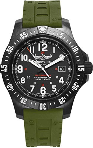 Strap Rubber Breitling (Breitling Colt SkyRacer Men's Watch with Green Skyracer Rubber Strap X74320E4/BF87-298S)
