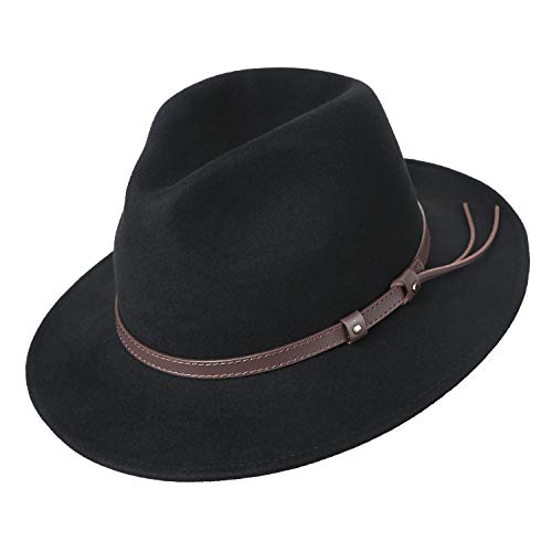(Men's 100% Wool Felt Fedora Outback Trilby Hat Derby Hat Short Brim Cap with Leather Belt, Black)